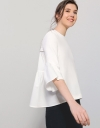 Gathered Back Panel Top With Ribbed Hem