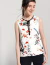 Placement Landscape Printed Top With Tie Neck