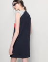 Color Block Shift Dress With Cord Lace Yoke