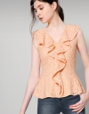Draped Cord Lace Ruffled Top
