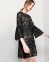 Bell Sleeved Shift Dress With Guipure Lace