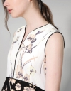 Contrast Botanical Printed Top