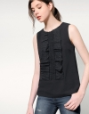 Guipure Lace Top With Frontal Ruffles