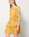 Floral Printed Dress With Micro Ruffle Detail