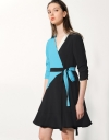 Wrap Dress In Color Block