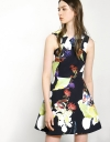 Floral Printed Dress With Interlaced Neckline