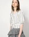 Puff Sleeve Cotton Stripe Top