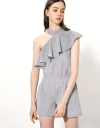 Stripe Cotton Romper With Asymmetric Halter Neck