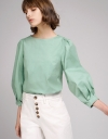 Jacquard Puff Sleeved Top