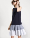 Drop Waisted Dress With Contrast Stripe Skirt