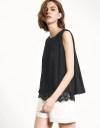 Pleated Crepe Tank Top With Lace Underlay