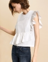 Asymmetric Geometric Placement Ruffle Top