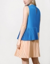 Pleated Color Block Shift Dress