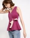 Wrap Top With Contrast Facing