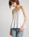 Pleated Crepe Tank Top With Lace Neckline