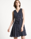Abstract Dotted Ruffled A-Line Dress