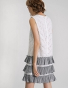 Eyelet Lace Dress With Contrast Striped Frills
