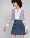 Lace Back Shirt With Contrast Stripe Front