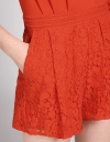 Sleeved Romper With Lace Bottom