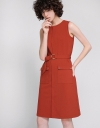 Zipper Front Midi Dress With D-Ring Belt