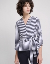 Long Sleeves Striped Top With Belt