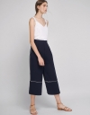 Pleated Wide-Leg Pants With Contrast Pipings
