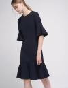 Bell Sleeved Shift Dress With Flouncy Hem