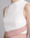 Fitted Ribbed Top With Color Block Hem