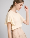 Sleeved Top With Ladder Lace Trims