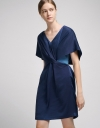 Twist Belted Shift Dress With Contrast Lining