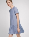Sleeved Shift Dress With Gathered Hem