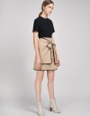 Color Block Shift Dress With Self-Tie Bow