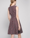 Check Printed Fit-Flare Dress