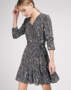Sleeved Wrap Dress With Gathered Hem