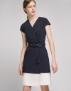 Belted Wrap Dress With Layered Hem