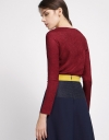 V-Neck Knit Blouse With Button Front