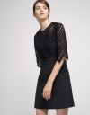 Sleeved Lace-Trimmed Shift Dress