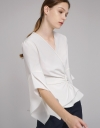 Sleeved Self-Tie Wrap Top
