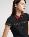Lace-Paneled Shirt Dress