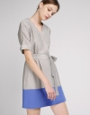 Belted Shift Dress With Color Block Hem