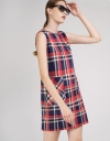 Check Shift Dress With Pocket Front