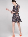 Wrap Printed Dress With Self-Tie Waist
