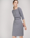 Belted Houndstooth Sheath Dress