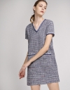 Tweed Shift Dress With Pocket Front