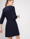 Sleeved Shift Dress With Contrast Stripes