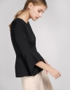 Sleeved Top With Flouncy Hem