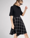 A-Line Dress With Contrast Check Skirt