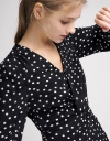 Sleeved Twist Polka Dotted Dress