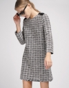 Sleeved Tweed Shift Dress