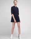 Belted Romper With Pleated Hem